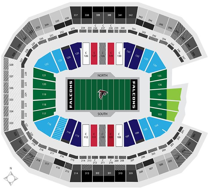 2019 super bowl seating chart february 3 2019 fan for Mercedes benz stadium calendar